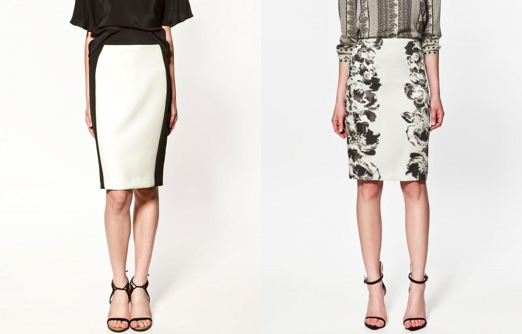 Two Tone Skirt and Printed Sheath Skirt by Zara