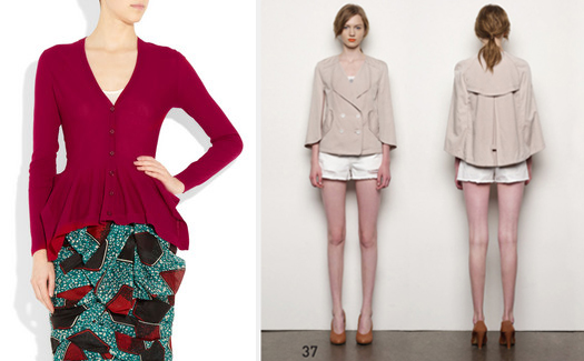 Ruffled cardigan by Alexander McQueen & Jacket by Eryn Brinié
