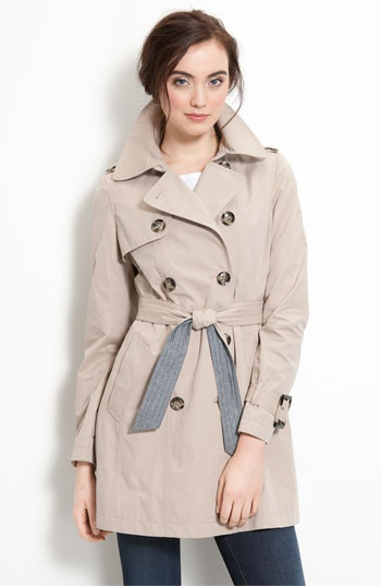 Trench Coat with Chambray Trim by DKNY