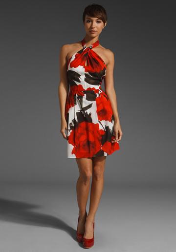 Haley Twist Neck Halter Dress by Alice + Olivia