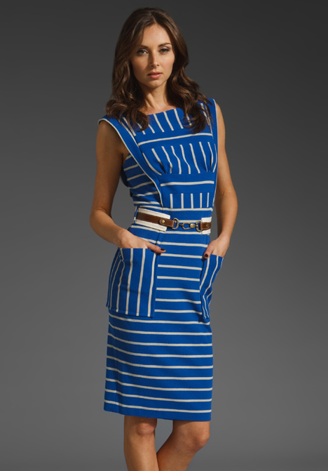 Directional Stripe Dress in Delft and Ecru by Tracy Reese