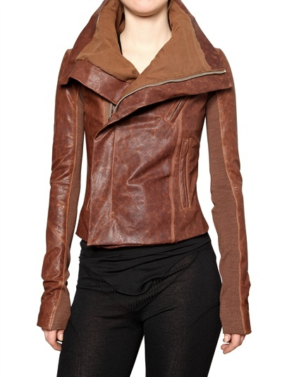Washed Biker Leather Jacket by Rick Owens