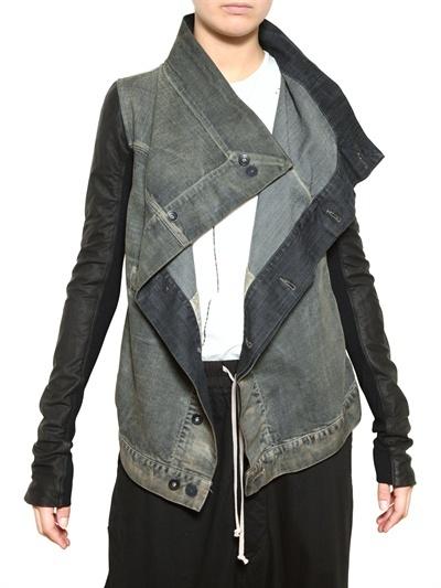Nappa Sleeve Treated Cotton Denim Jacket by Rick Owens