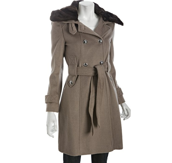 Phoebe mink and wool coat by Tahari