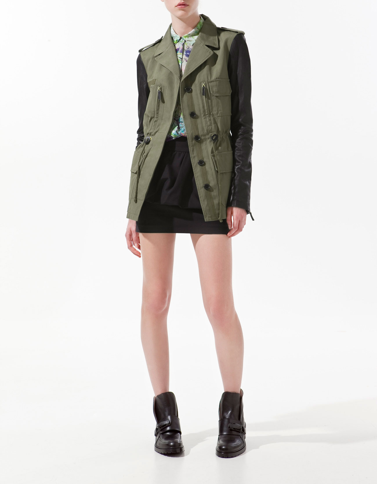 Safari Jacket with Leather Sleeves by Zara