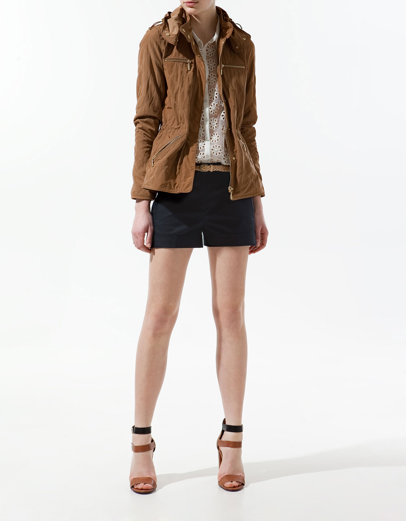 Quilted Jacket with Piping and Pockets by Zara