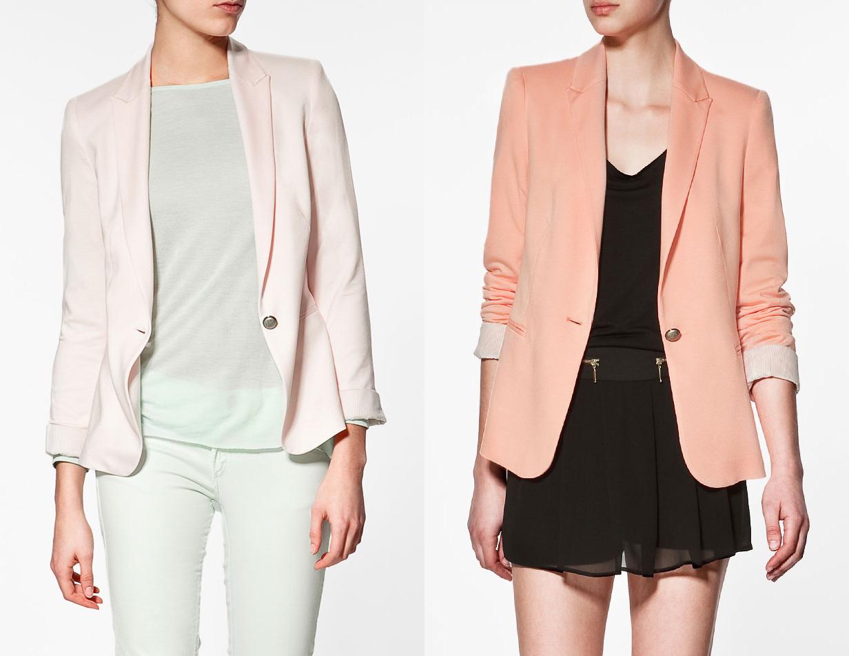 Pink & Tangerine Jersey Blazers by Zara