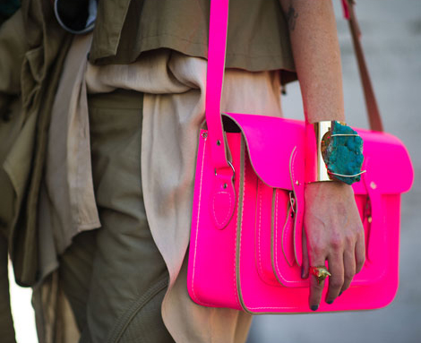 Fluorescent pink bag by Cambridge Satchel Company