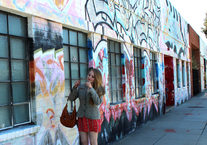 Jaime dress by Myne, boots by Steve Madden, tweed blazer by Isaac Mizrahi (Crossroads Trading Co.), thrifted belt (Crossroads Trading Co.), purse by Chloé, sunglasses from Anthropologie, Totem ring by Odette NY, Marmalade Revlon ColorStay polish