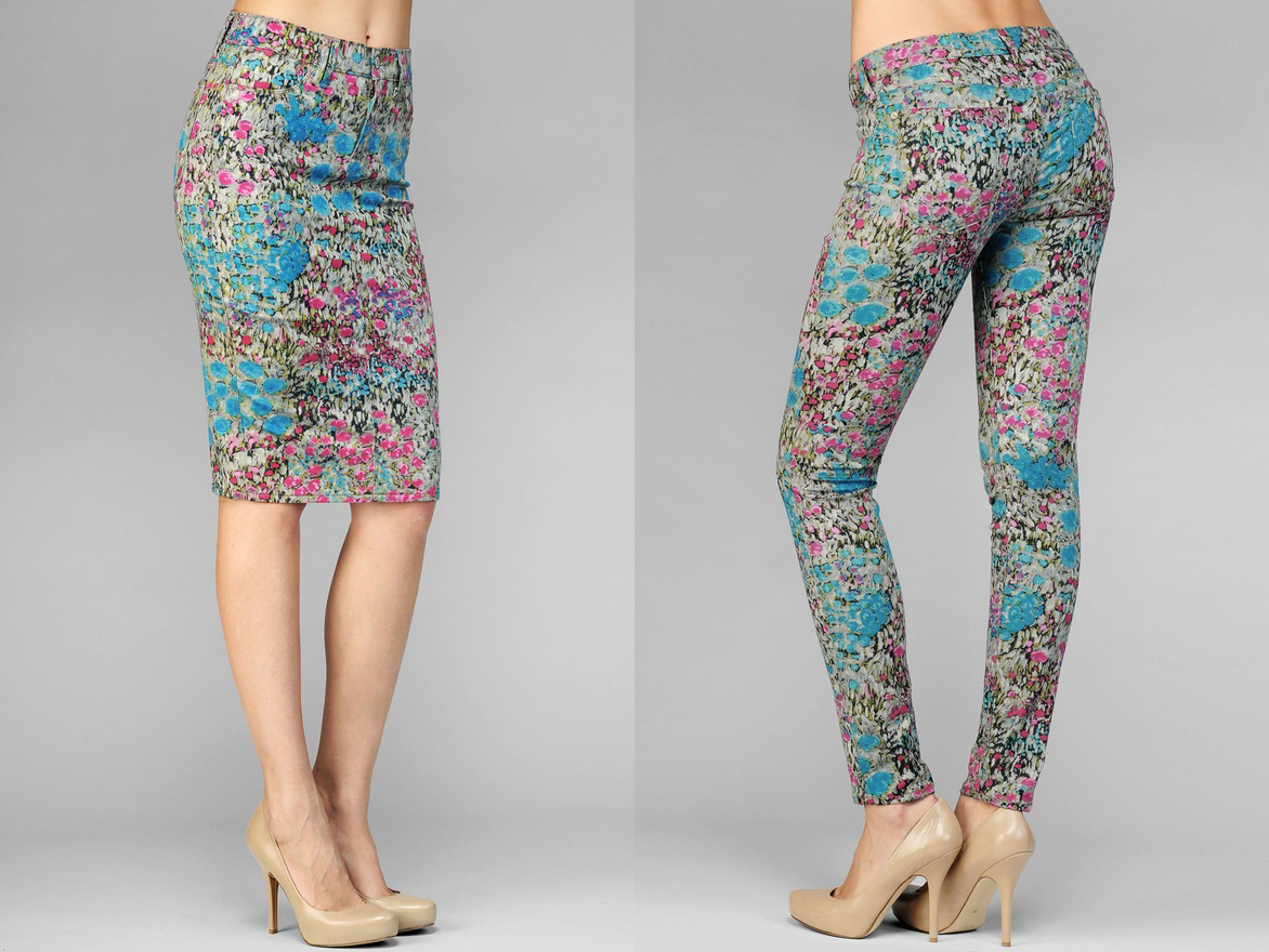 Pencil Skirt and The Skinny Second Skin Legging in Garden Party Denim by 7 For All Mankind