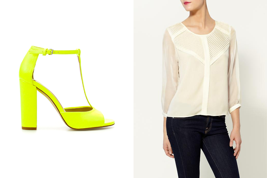 High Heeled Sandals by Zara and Pleated Front Top by Tinley Road (Piperlime)