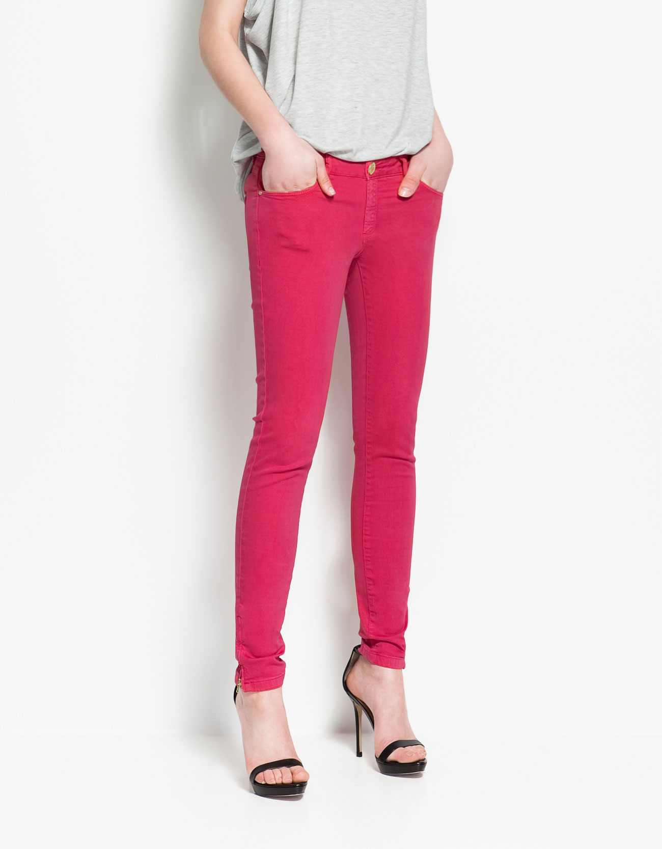 Dyed Trousers with Zips by Zara
