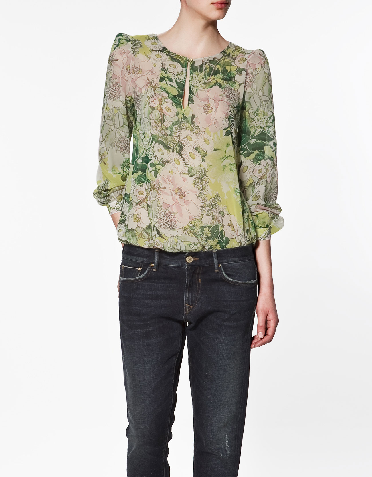 Shirt With Front Teardrop Opening by Zara