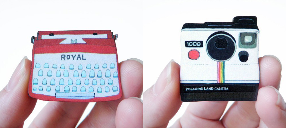 Typewriter and Polaroid Wood Brooches by craftyFOLK (Etsy)