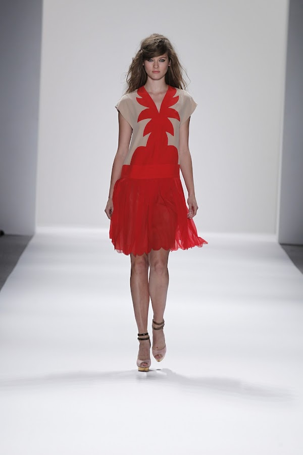 Radiating red and cream dress by Jill Stuart