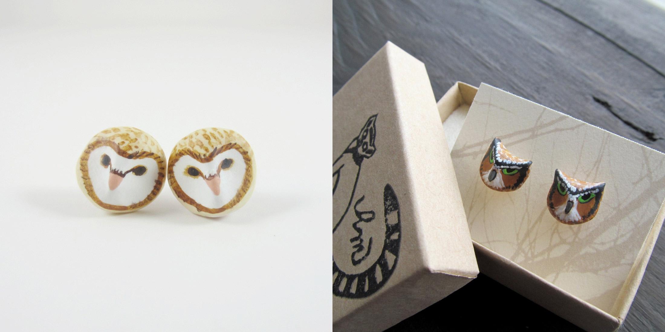 Barn Owl and Owl Earrings by HandyMaiden (Etsy)