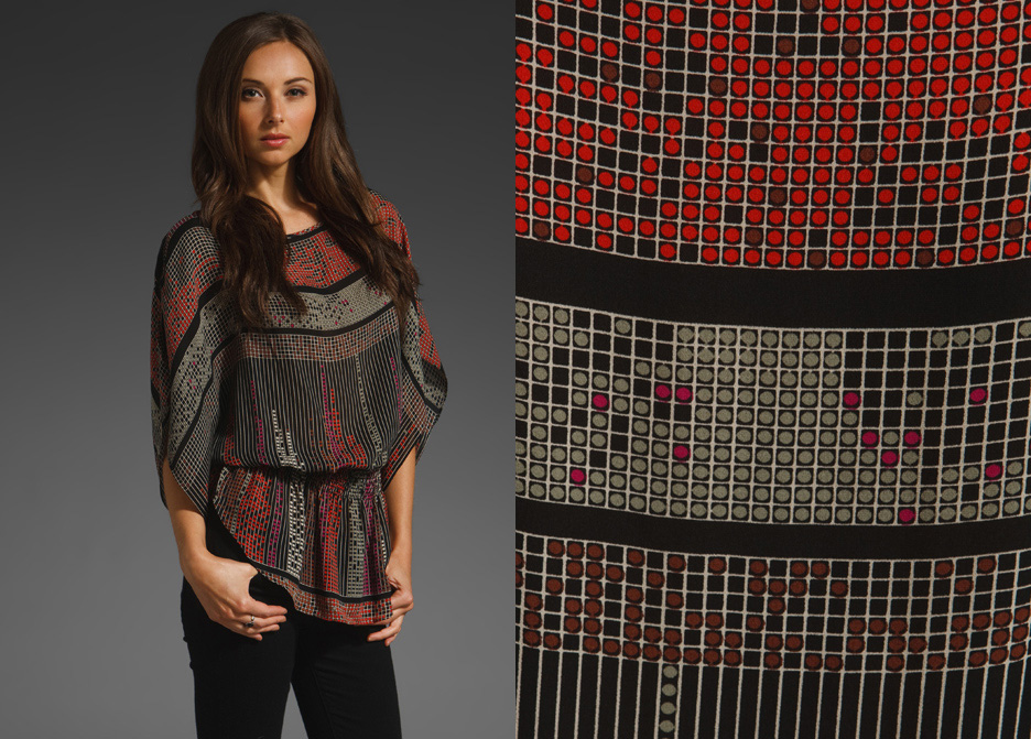 Batwing Top in Multi Square by Parker