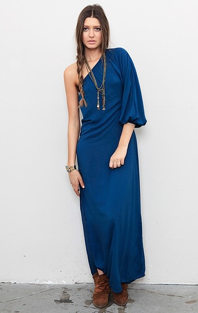 One Sleeve Maxi Dress with Belt by Indah