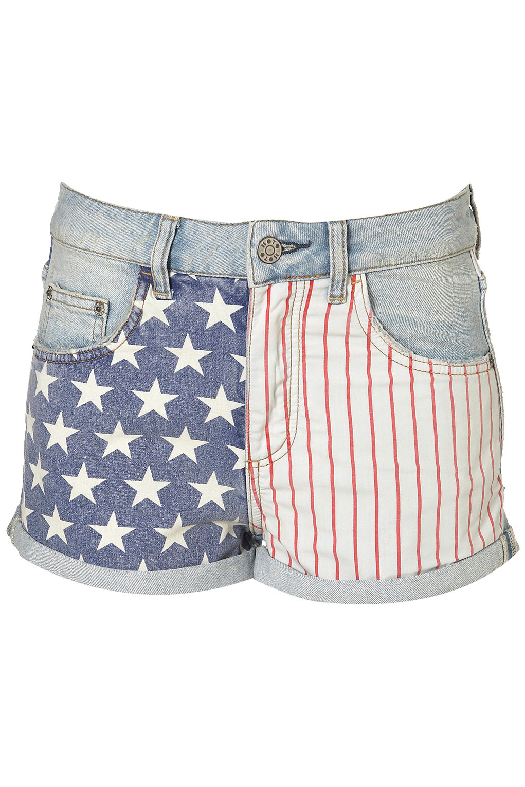 Moto Bleach Flag Print Hotpants by TopShop