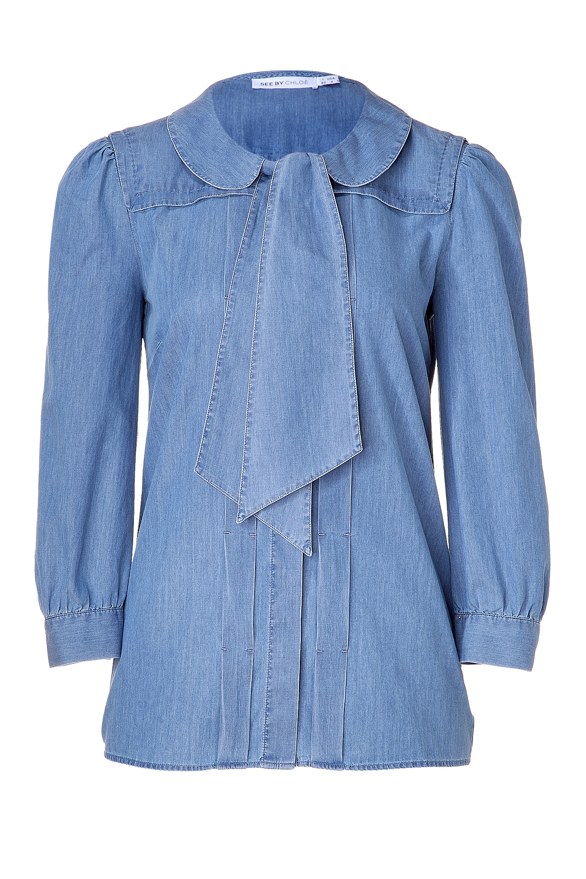 Denim tie-neck top from See by Chloe