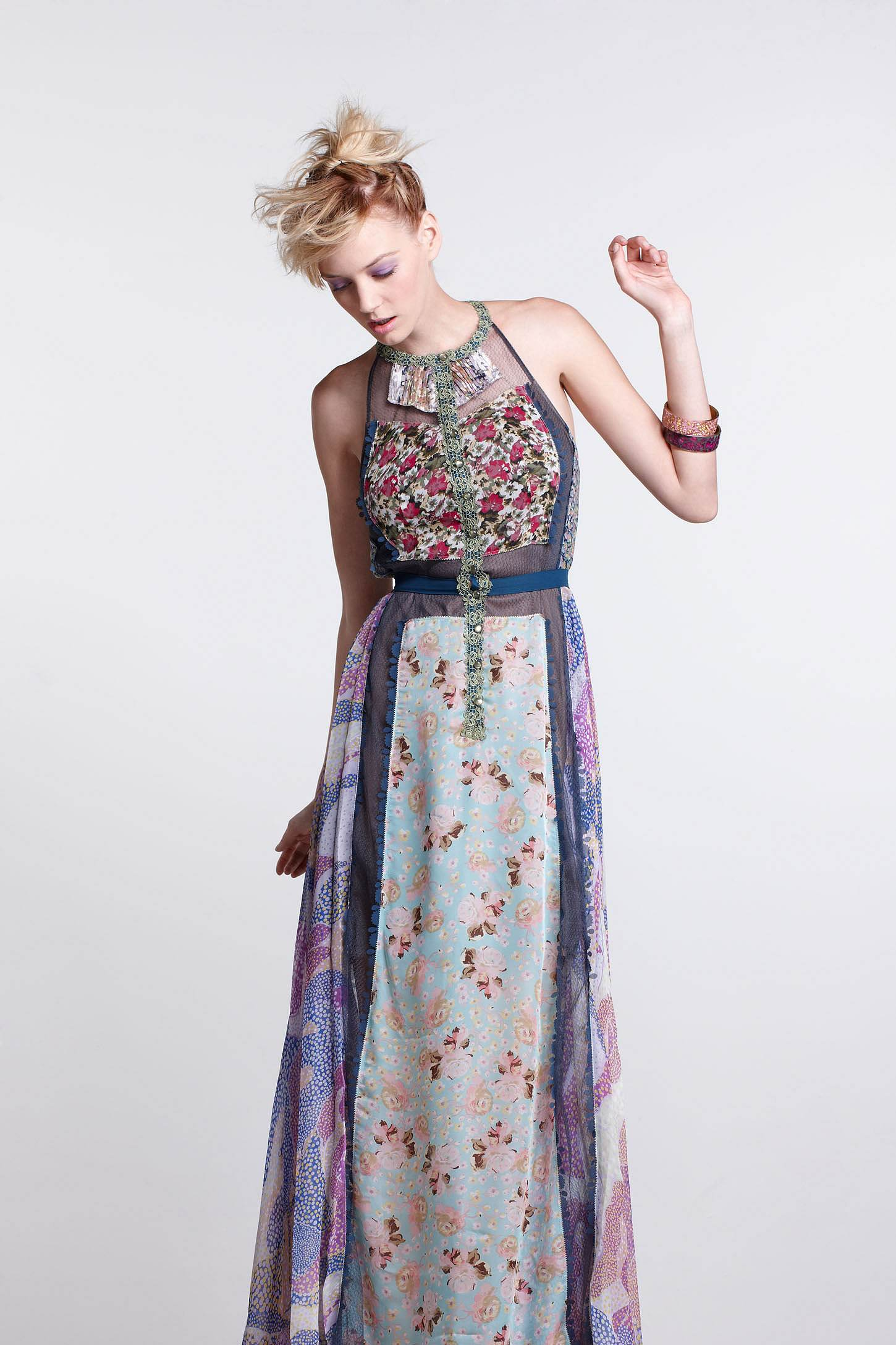 Wilderflora Patchwork Maxi Dress by Byron Lars
