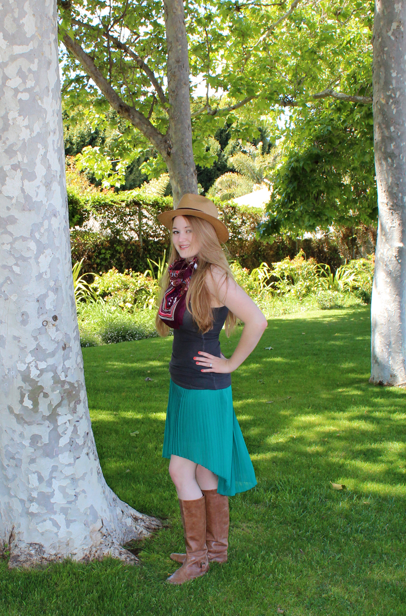 """Asymmetric pleated skirt by Zara, Dark gray tank top by Zenana Outfitters (Irene's Story), Leather riding boots from Urban Outfitters, Panama hat by Olé, scarf gifted by friend from World Market (thanks Becca!), """"Marmalade"""" Revlon Colorstay nail polish (CVS)"""