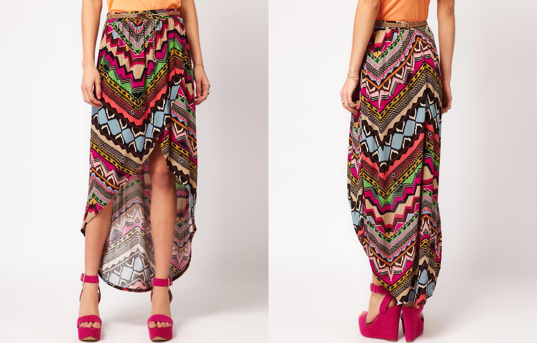River Island Aztec Hi Lo Maxi Skirt from ASOS