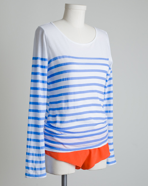 Monrow French Stripe Long Sleeve Boatneck Tee from byLangley