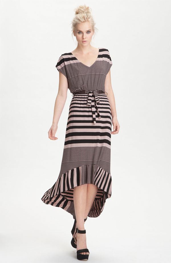 High/Low Stripe Jersey Dress by Felicity & Coco