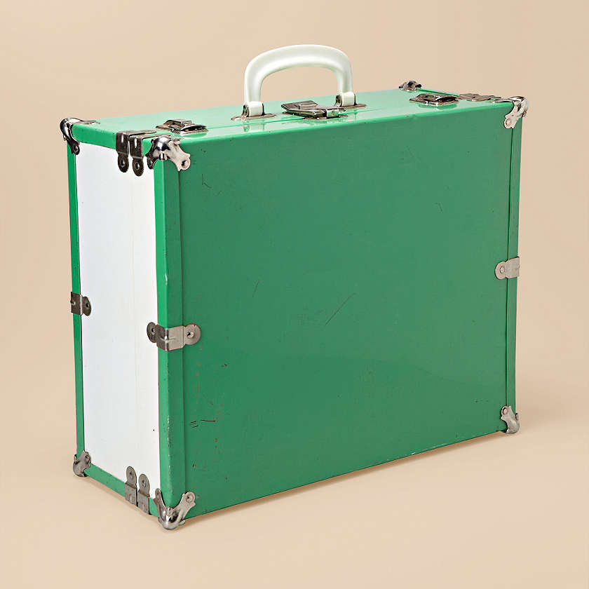 Vintage Metal Green Suitcase from Fossil Finds