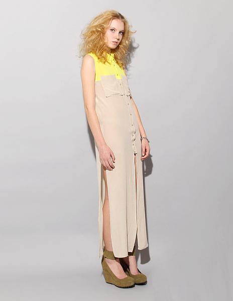 Colorblock silk utility dress by Shakuhachi