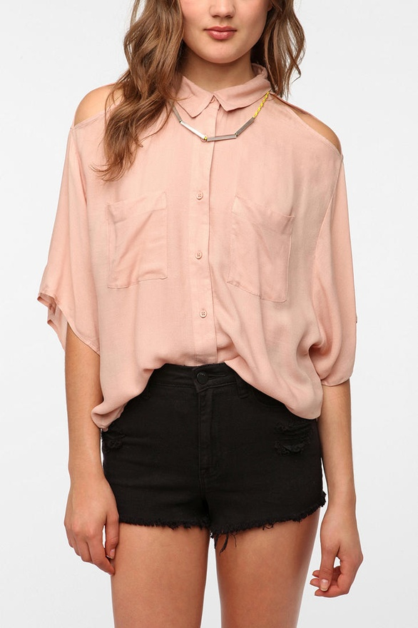 Cold Shoulder Button-Down Shirt by Silence & Noise