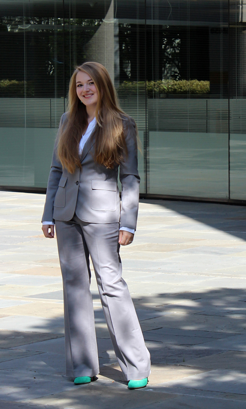 H&M blouse, Banana Republic suit, Steve Madden pumps