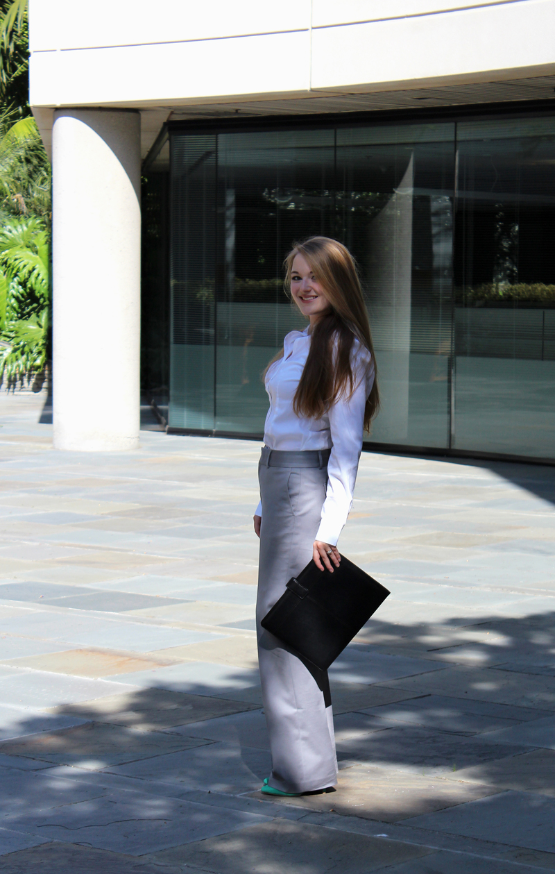 H&M blouse, Banana Republic trousers, Steve Madden pumps, Office Depot portfolio case