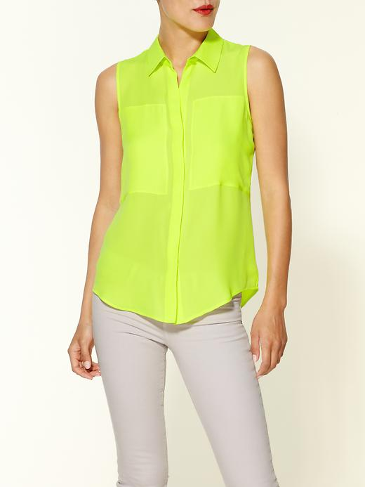 Duria Neon Silk Sleeveless Top by Theory