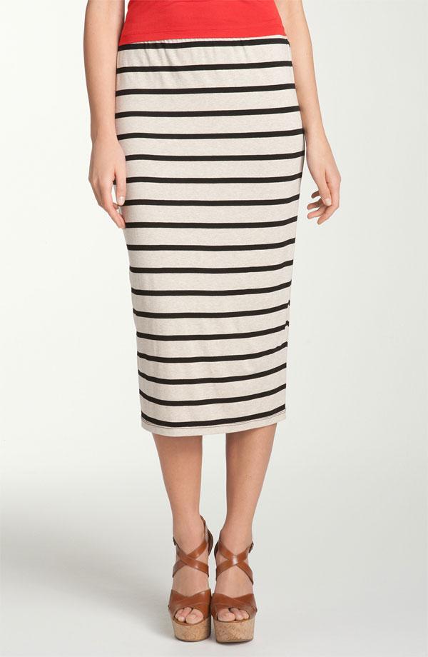 Bobeau Stripe Midi Skirt