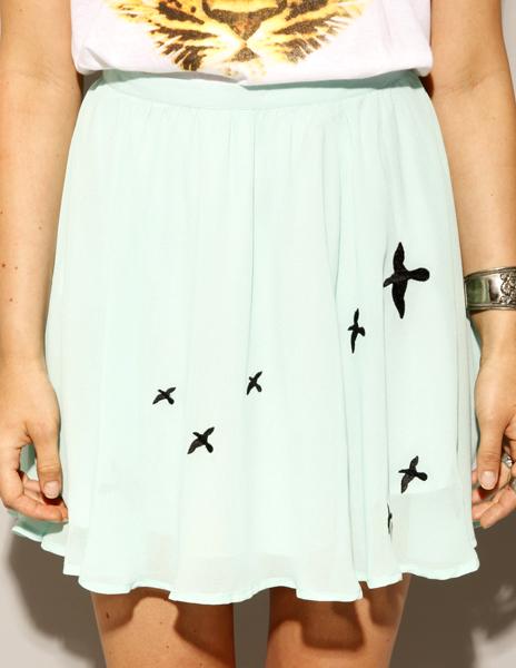 Bird Chiffon Skirt from Pixie Market