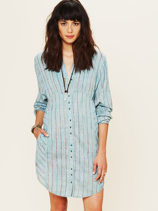 Free People FP New Romantics Indigo Shades Shirt Dress