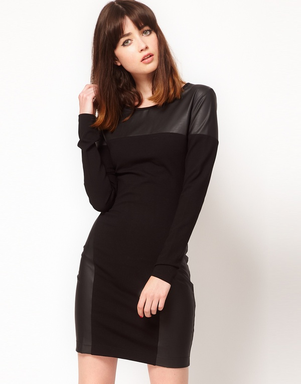 Body-Conscious Dress with Leather Look Panels by Markus Lupfer