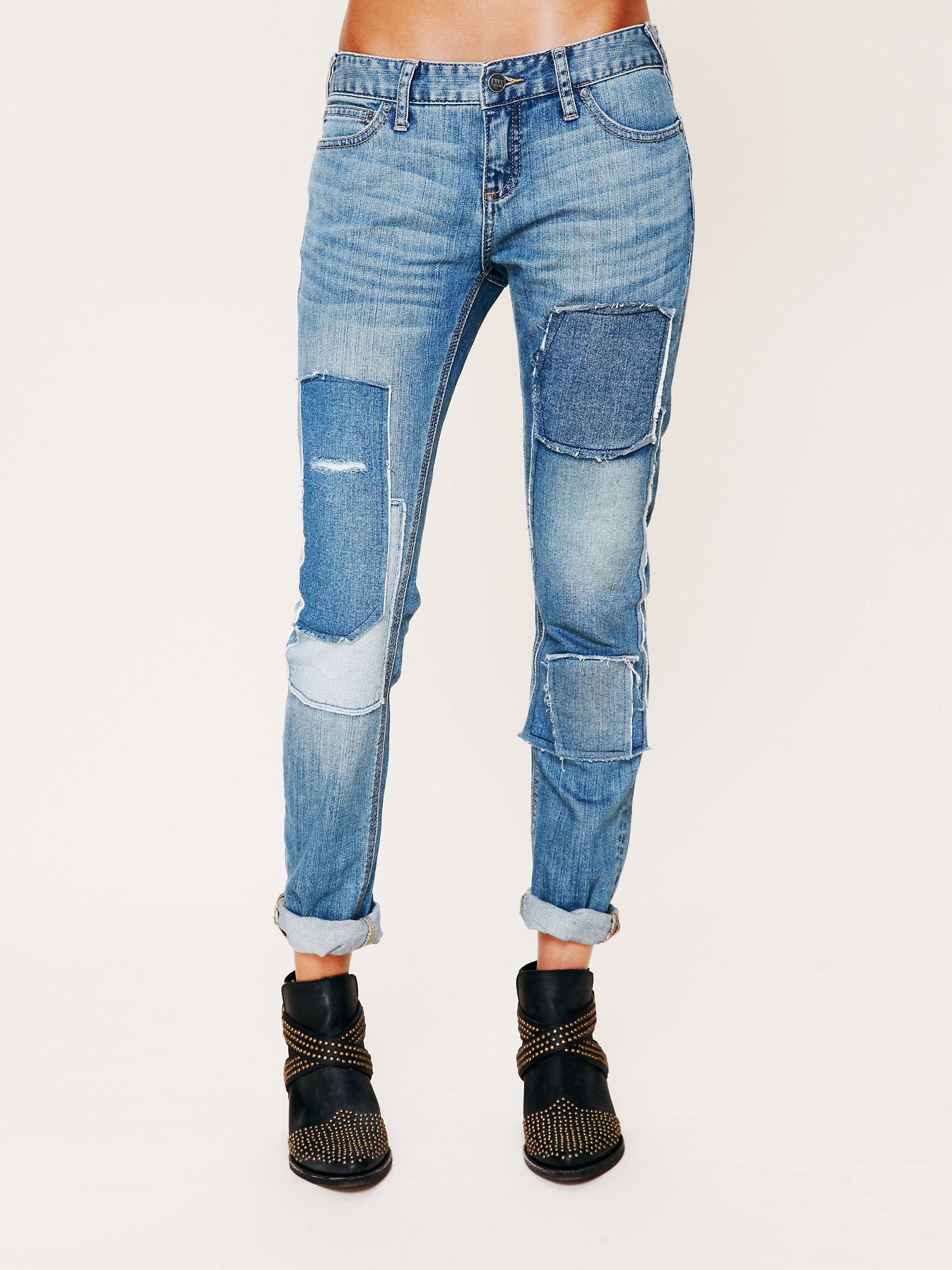 Patched Skinny Jeans by Free People