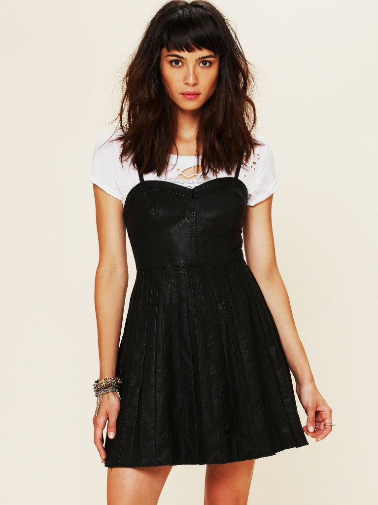 Vegan Leather Fit and Flare Dress by Free People
