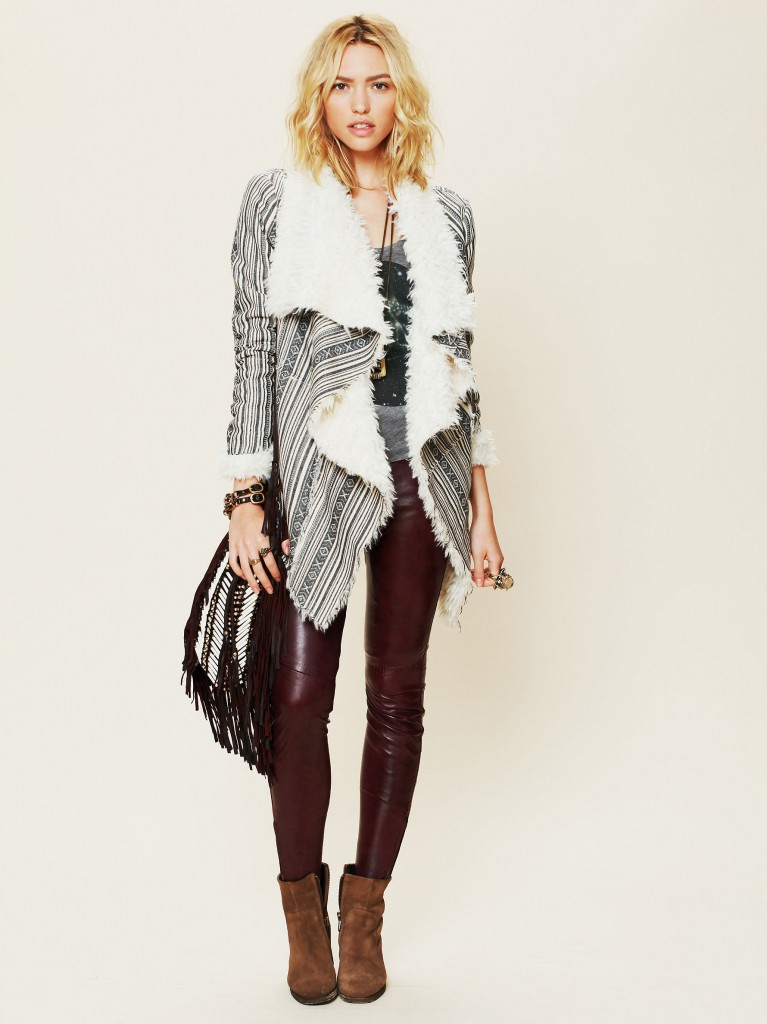 Heading South Striped Faux Fur Jacket by American Retro