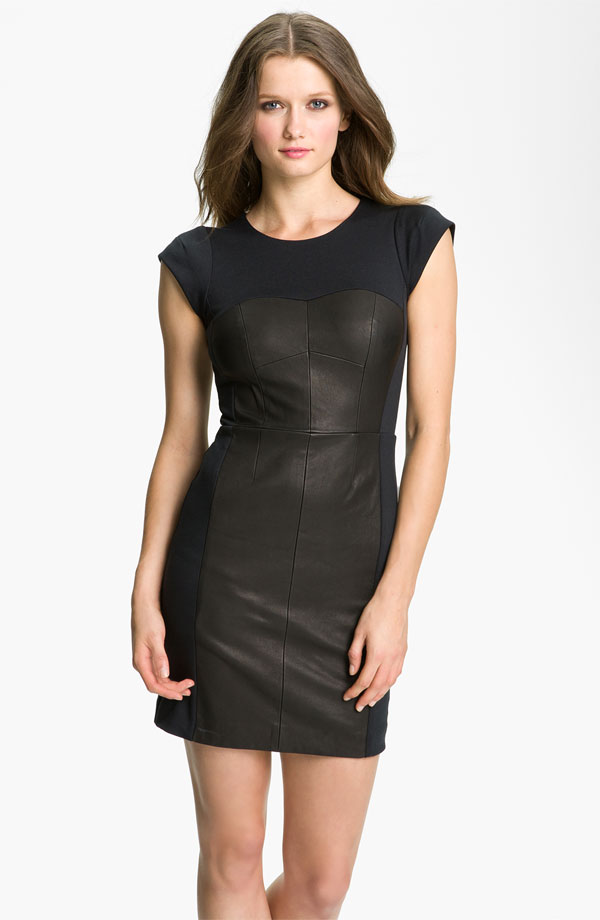 Colorblock Leather Sheath Dress by Rebecca Taylor