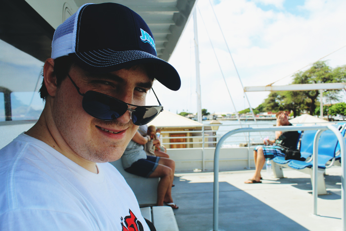 Matthew, on the ferry to Lana'i