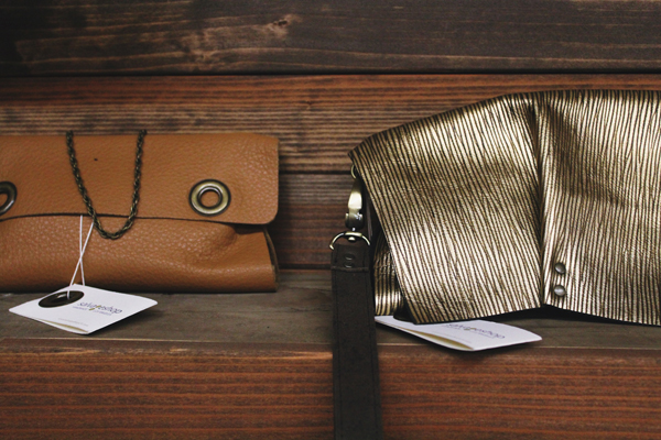 Grommet Clutch and Leather Clutch by salvageshop