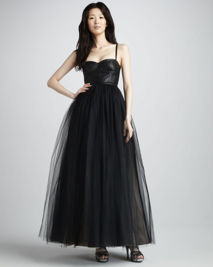 Ona Leather-Bustier Gown by Alice + Olivia