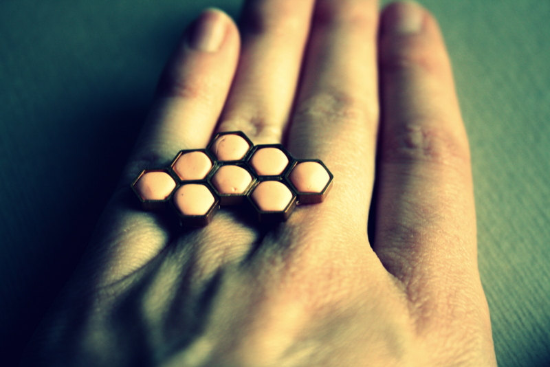 Handmade Romantic Honeycomb Ring by FímosERIe