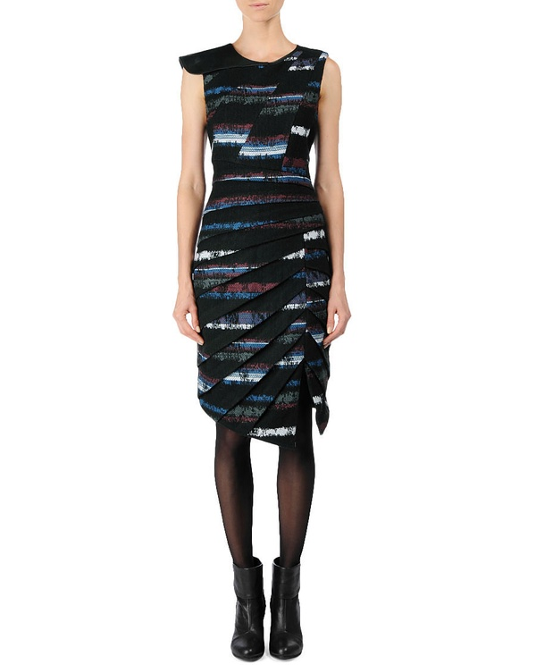 Leather-Trimmed Origami Dress by Rag & Bone