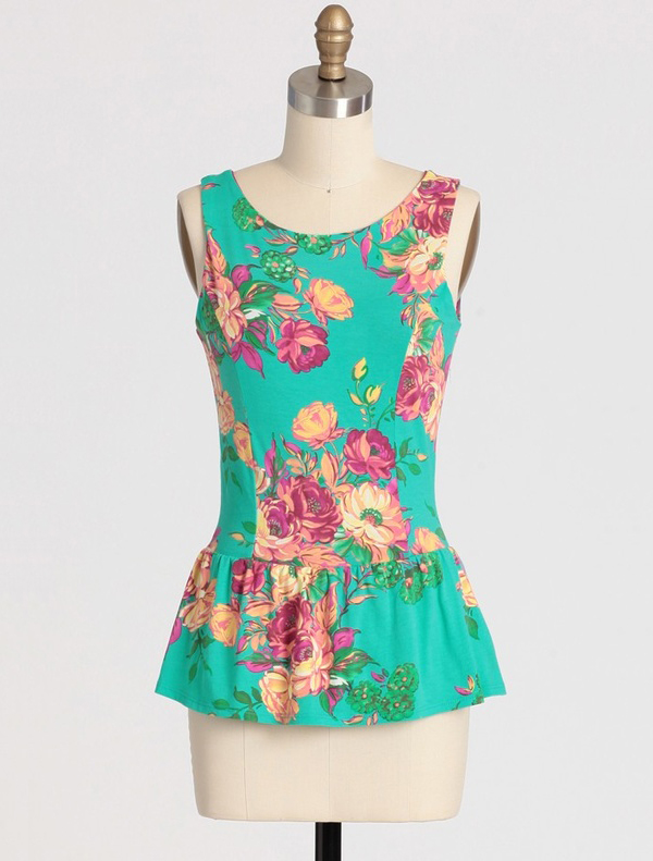 Floral Compass Peplum Top from Ruche