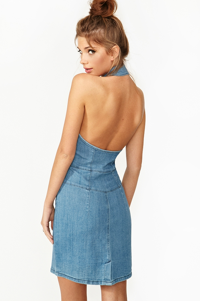 Denim Halter Dress by Nasty Gal